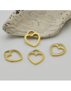 4 pz ciondoli forma cuore vuoto colore oro 10 x 12 mm in ottone fai da te