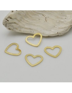 4 pz ciondoli forma cuore vuoto colore oro 9 mm in ottone fai da te