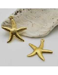 2 pz ciondoli forma stella di mare colore oro 19 x 21 mm in ottone fai da te