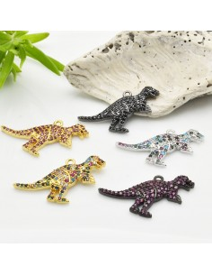 1 PZ Ciondoli Charms dinosauri con zirconi 18 x 28 mm in rame per le tue creazioni