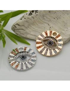 1 PZ Ciondoli Charms mezzo coccinella con zirconi fucsia 13.5 x 18.5 mm in rame per le tue creazioni