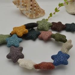 filo stelle di lava colore mix 26 mm 18 pz per gioielli per le tue creazioni