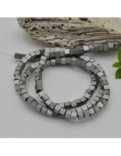 Ematite cubo 4 mm FILO perline colore argento opaco per bigiotteria circa 130 pz 40 cm