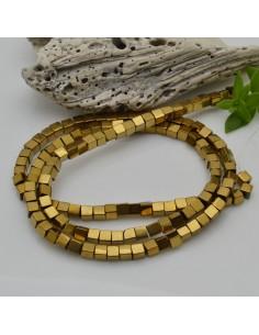 Ematite cubo 3 mm FILO perline colore oro scuro per bigiotteria circa 130 pz 40cm per le tue creazioni