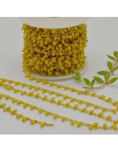 Catena Rosario con perline indiane 2 mm col giallo base oro conf 50 cm per fai da te