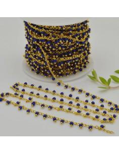 Catena Rosario con perline indiane 2 mm base oro col blu conf 50 cm per fai da te