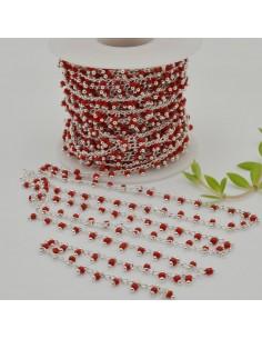 Catena Rosario con perline indiane 2 mm base argento col rosso conf 50 cm per fai da te