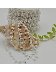 Catena Rosario con perline indiane 2 mm base argento col bianco conf 50 cm per fai da te