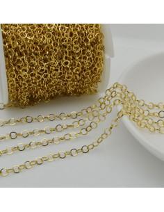 Catena in acciaio oro tondo filo piatta e saldata Inossidabile per bigiotteria fai da te.