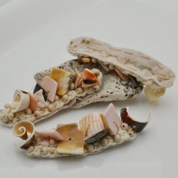 2 pz conchiglia ricamo perline Patch da cucire 20 x 70 mm per borse fai da te