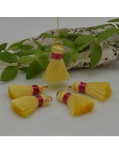 nappine ciondolo nappa Charms in seta col giallo fucsia 22 mm per decorare 2 pz per fa da te