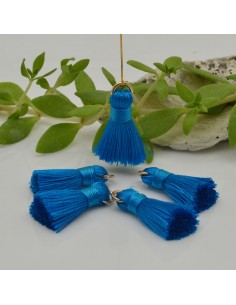 nappine ciondolo nappa Charms in seta col Blu Ceruleo 22 mm per decorare 2 pz per fa da te