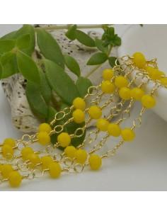 catena rosario cristalli colore giallo 4 mm concatenata filo oro in ottone 50 cm per fai da te