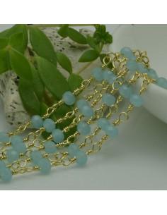 catena rosario cristalli colore Acquamarina 4 mm concatenata filo oro in ottone 50 cm per fai da te