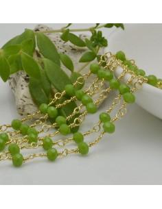 catena rosario cristalli colore verde chiaro 4 mm concatenata filo oro in ottone 50 cm per fai da te