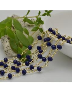 catena rosario cristalli colore blu scuro 4 mm concatenata filo oro in ottone 50 cm per fai da te