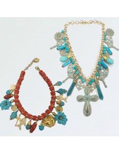 Moda Fantastico collana corallo e turchese
