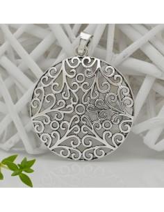 Pendente ciondolo grande rotonda con fantasia colore argento 6.5 x 8 cm per bigiotteria