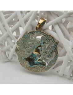 CIONDOLI donna oro azzurro ciondolo 60 x 75 MM in metallo