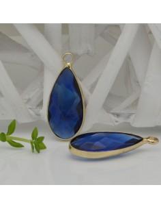 CIONDOLI CON CRISTALLO 10.5 x 25 mm colore blu da abbinare a orecchini collane per fai da te