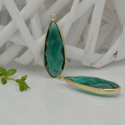 CIONDOLI CON CRISTALLO 13 X 35 MM colore verde acqua da abbinare a orecchini collane per fai da te