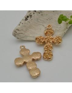 CIONDOLO CROCE con fiori olore oro 20 x 31 mm conf 2 pz in metallo per le tue creazioni