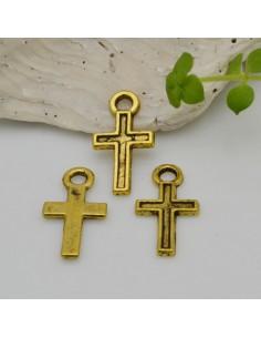CIONDOLO CROCE col oro 8.3 x 15.5 mm conf 22 pz in metallo per le tue creazioni