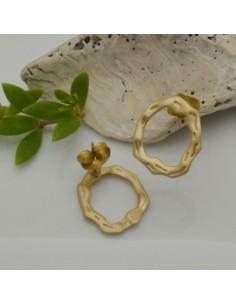 base Orecchini a perni cerchio irregolare vuota oro 16 x 18 mm in zama per i tuoi orecchini alla moda