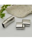 Chiusure lucido Per Cuoio in acciaio magnetiche con terminale 12 x 24 mm per bracciali uomo e donna
