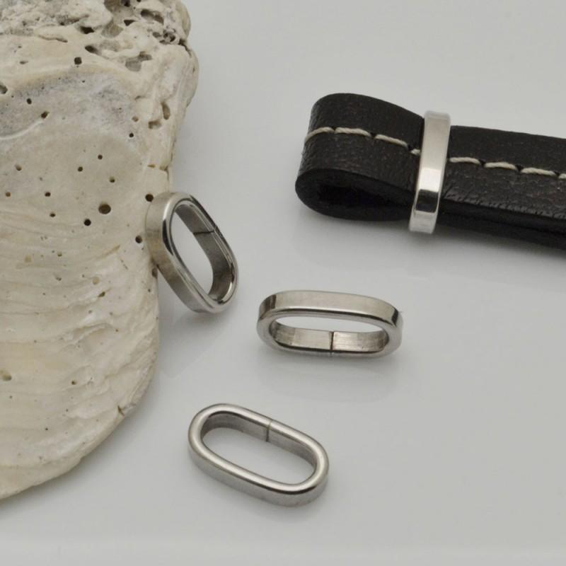 Anellini ovale in acciaio fermo cordone 7 x 12 mm fori interno 5 x 10 mm per filo piatto 4 pz per fai da te