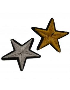Patch Toppe con paillettes termoadesive forma Stella oro argento 5 cm 1 Pz.