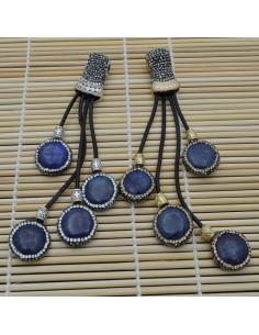 Pendente lungo con 4 ciondolo con lapislazzuli attorno marcasite cordoni pelle 12cm