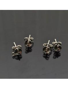 Base orecchini a perno con piatto 5x14 mm e perno centrale in argento 925% 2 paia