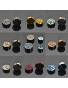 Pietra dura ematite a forma di tondo piatto grezzo 3.5 x 8 mm 3 Pz per bigiotteria