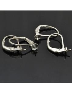 Monachelle chiuse 14x9 mm con piatto e perno da 4 mm 2 Paia in argento 925%