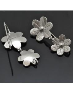 Monachelle con fiori base per orecchini in argento 925%