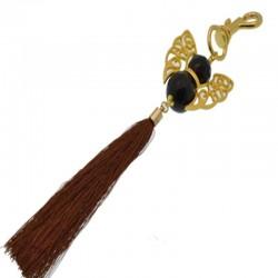 Portachiavi ANGELO ciondolo borsa pietre dure 20cm col oro con nappe