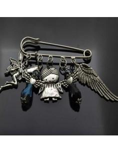 Spillone angeli Ali Charms per sciarpe o maglioni Spilla da balia grande 9cm regalo