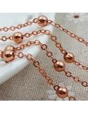 Catena con pallina in ottone anelli saldati ogni 3 cm di catena ovalina pallina da 3.5 mm 1mt