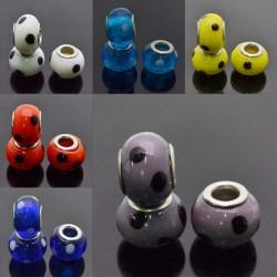 perlina a foro largo in ceramica RONDELLE pois 10x14 mm foro 5mm 2pz