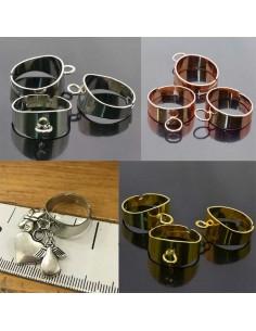 base anelli porta ciondoli con 1 anello saldato da decorare fascia 9.5mm in ottone 5pz