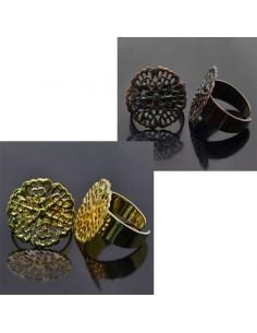 base anelli in ottone con filigrana TONDA 20mm Anello regolabile da decorare 1pz