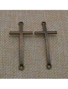 ciondolo connettore CROCE colore bronzo bigiotteria bracciale 22 x50 mm 1pz