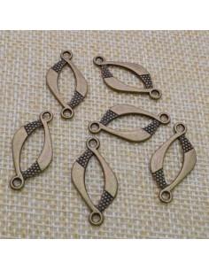 ciondolo connettore colore bronzo bigiotteria bracciale 13x26 mm 6 pz