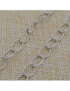 Catena Rolo anella ovali diamantate 10x8 mm in argento 925% per 10 cm
