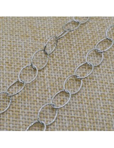 Catena Rolo anella ovali diamantate 10x8 mm in argento 925% per 50 cm