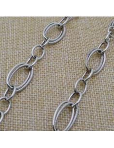 Catena Rolo argento diamantata doppia anella ovale 20x11 mm in argento 925% per 10 cm