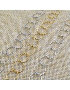 Catena Rolo anella tonde diamantate 11 mm in argento 925% per 50 cm
