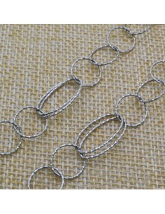 Catena anelle tonde e ovali 11-10x18 mm in argento 925% per 10 cm