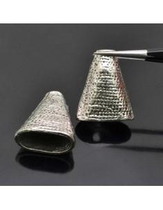 Coppette terminali piatta per bigiotteria colore argneto 8x18x23 mm 2pz